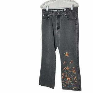 Vintage Express Jeans Black Size 11/12 Embroidered